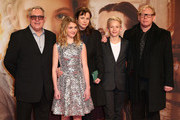 (L to R) Brian Percival, Sophie Nelisse, Emily Watson, Nico Liersch and Ben Becker arrive for the German premiere of the film 'The Book Thief' (Die Buecherdiebin) at Zoo Palast on January 23, 2014 in Berlin, Germany.