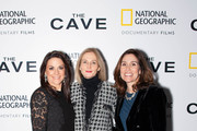 (L-R) President of National Geographic Global Television Networks Courteney Monroe, Senior Vice President  of Sales and Partnership Marketing, National Geographic. Deborah Armstrong and Executive Vice President, Global Scripted Content and Documentary films, National Geographic,  Carolyn Bernstein attend The Cave Screening + Q&A at Picturehouse Central on December 04, 2019 in London, England.