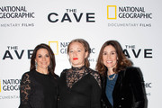 (L-R) President of National Geographic Global Television Networks Courteney Monroe, Producer Kristine Barfod and Executive Vice President, Global Scripted Content and Documentary films, National Geographic,  Carolyn Bernstein attend The Cave Screening + Q&A at Picturehouse Central on December 04, 2019 in London, England.