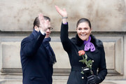 Crown Princess Victoria of Sweden (R) and Prince Daniel, Duke of Vastergotland participate in a celebration for the Crown Princess' name day at the Stockholm Royal Palace on March 12, 2018 in Stockholm, Sweden.
