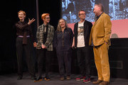 """Tilda Swinton, Sandy Powell, Annie Symonds, Simon Fisher Turner and Seamus McGarvey attend a screening of Derek Jarman's """"The Garden"""" at BFI Southbank to to raise awareness of the campaign to save Prospect Cottage on March 12, 2020 in London, England."""