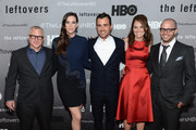 """(L-R) Tom Perrotta, Liv Tyler, Justin Theroux, Amy Brenneman and Damon Lindelof attend """"The Leftovers"""" premiere at NYU Skirball Center on June 23, 2014 in New York City."""