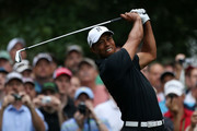 Tiger Woods hits a shot during a practice round prior to the start of the 2012 Masters Tournament at Augusta National Golf Club on April 3, 2012 in Augusta, Georgia.