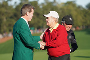 Fred Ridley, Chairman of Augusta National Golf Club, Jack Nicklaus of the United States and Gary Player of South Africa take part in the opening tee ceremony prior to the first round of the 2018 Masters Tournament at Augusta National Golf Club on April 5, 2018 in Augusta, Georgia.