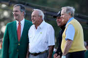 Augusta National Golf Club chairman William Porter Payne (L) poses with Gary Player of South Africa (2nd R), Arnold Palmer (2nd L) and Jack Nicklaus (R) on the first tee box during the start of first round of the 2012 Masters Tournament at Augusta National Golf Club on April 5, 2012 in Augusta, Georgia.