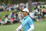 Rory McIlroy of Northern Ireland walks across the second green during the third round of the 2018 Masters Tournament at Augusta National Golf Club on April 7, 2018 in Augusta, Georgia.