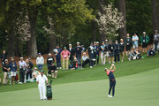 Justin Rose of England plays a shot on the second hole during the third round of the 2018 Masters Tournament at Augusta National Golf Club on April 7, 2018 in Augusta, Georgia.
