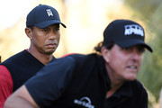 Tiger Woods looks on as Phil Mickelson plays from the 14th tee during The Match: Tiger vs Phil at Shadow Creek Golf Course on November 23, 2018 in Las Vegas, Nevada.