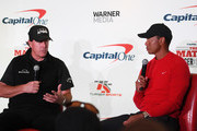 Phil Mickelson and Tiger Woods speak to the media after Mickelson defeated Woods in The Match: Tiger vs Phil at Shadow Creek Golf Course on November 23, 2018 in Las Vegas, Nevada.
