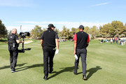 Tiger Woods and Phil Mickelson walk on the first hole during The Match: Tiger vs Phil at Shadow Creek Golf Course on November 23, 2018 in Las Vegas, Nevada.