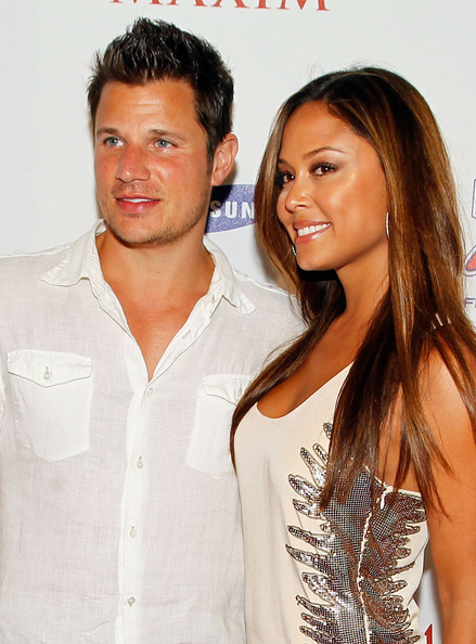 Singer Nick Lachey (L) and Vanessa Minnillo attend the 2010 Maxim Party at The Raleigh on February 6, 2010 in Miami, Florida.