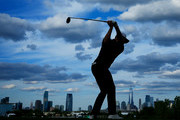 Justin Rose of England plays his shot from the 18th tee during the final round of The Northern Trust at Liberty National Golf Club on August 11, 2019 in Jersey City, New Jersey.