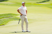 Adam Scott of Australia reacts on the seventh green  during the final round of The Northern Trust at Liberty National Golf Club on August 11, 2019 in Jersey City, New Jersey.