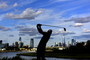 Brandt Snedeker of the United States plays his shot from the 18th tee during the final round of The Northern Trust at Liberty National Golf Club on August 11, 2019 in Jersey City, New Jersey.