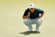Jordan Spieth of the United States lines up a putt on the seventh green during the final round of The Northern Trust at Liberty National Golf Club on August 11, 2019 in Jersey City, New Jersey.