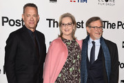 Tom Hanks, Meryl Streep and Steven Spielberg attends the 'The Post' premiere on January 15, 2018 in Milan, Italy.