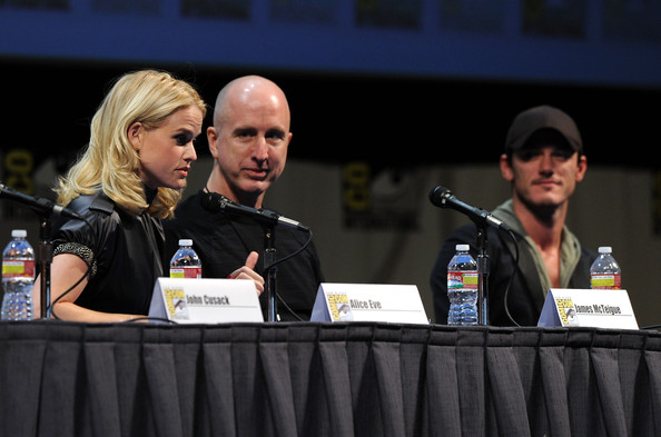 "Actress Alice Eve, directorJames McTeigue and Luke Evans speak at ""The Raven"" Panel during Comic-Con 2011 on July 22, 2011 in San Diego, California."