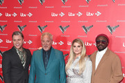Olly Murs, Sir Tom Jones, Meghan Trainor and Will.i.am attend The Voice UK 2019 photocall at The Soho Hotel on December 16, 2019 in London, England.