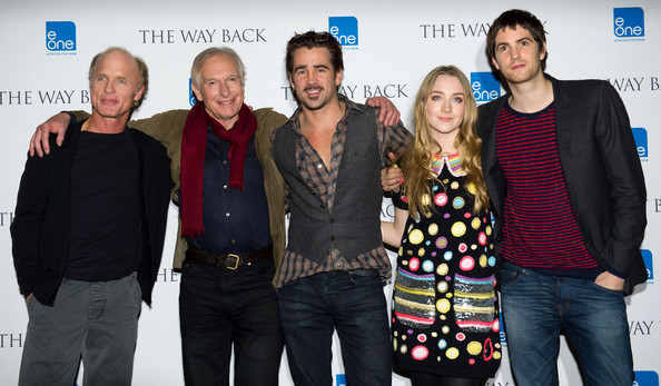 (L-R) Ed Harris, Peter Weir, Colin Farrell,  Saoirse Ronan and Jim Sturgess attend a photocall for the film 'The Way Back' at Claridge's Hotel on December 8, 2010 in London, England.