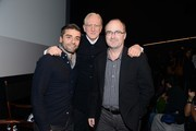 Oscar Isaac, T-Bone Burnett and Steve Pond attend a screening and Q & A of 'Inside Llewyn Davis' at the Landmark Theater on November 20, 2013 in Los Angeles, California.
