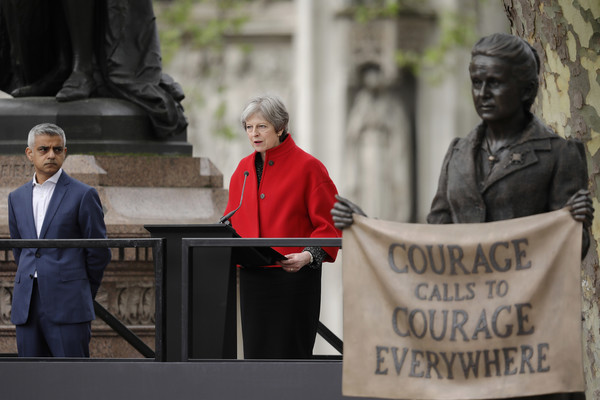 First Female Suffragette Millicent Fawcett Statue Unveiled In Parliament Square [statue,people,event,protest,statue,memorial,first female suffragette millicent fawcett statue,theresa may,gillian wearing,mayor,monument,parliament square,london,british,speech]