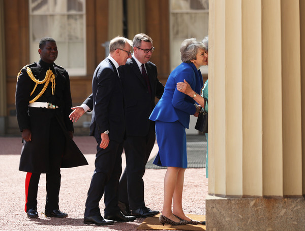Queen Receives Outgoing And Incoming Prime Ministers [susan hussey,theresa may,philip may,queen,prime ministers,prime minister,private secretary,monarch,number,uniform,standing,event,official,tourism,gesture,major]