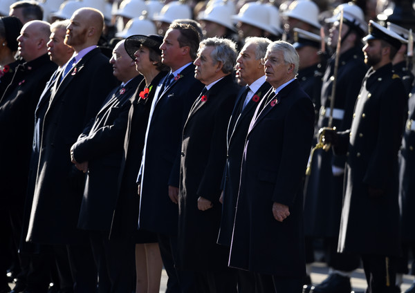 Remembrance Sunday Cenotaph Service [armistice,military officer,military,uniform,event,military rank,official,military uniform,military person,gesture,marching,prime ministers,theresa may,gordon brown,david cameron,tony blair,l-r,part,cenotaph service,memorial]