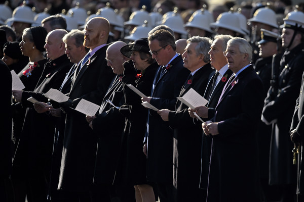 Remembrance Sunday Cenotaph Service [armistice,event,uniform,military officer,military,crowd,official,marching,gesture,prime ministers,theresa may,gordon brown,david cameron,tony blair,l-r,part,cenotaph service,memorial]