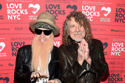 Billy Gibbons (L) and Robert Plant attend the Third Annual Love Rocks NYC Benefit Concert for God's Love We Deliver on March 07, 2019 in New York City.