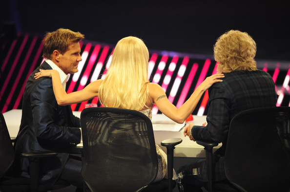 'Das Supertalent' Semi Finals [event,yellow,conversation,interaction,performance,fashion,hand,gesture,audience,stage,jury members,michelle hunziker,thomas gottschalk,dieter bohlen,l-r,cologne,germany,das supertalent semi finals]