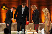 "Tv host Guenther Jauch (L), Basketball player Dirk Nowitzki (2ndL) and hosts Thomas Gottschalk and Michelle Hunziker talk during the 199th ""Wetten dass...?"" show at the Rothaus Hall on December 3, 2011 in Friedrichshafen, Germany. After 24 years host Thomas Gottschalk terminates today his career as ""Wetten dass...?"" moderator."