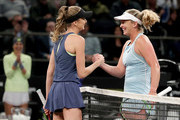 Daniela Hantuchova of Slovakia congratulates CoCo Vandeweghe during the Tie Break Tens at Madison Square Garden on March 5, 2018 in New York City.