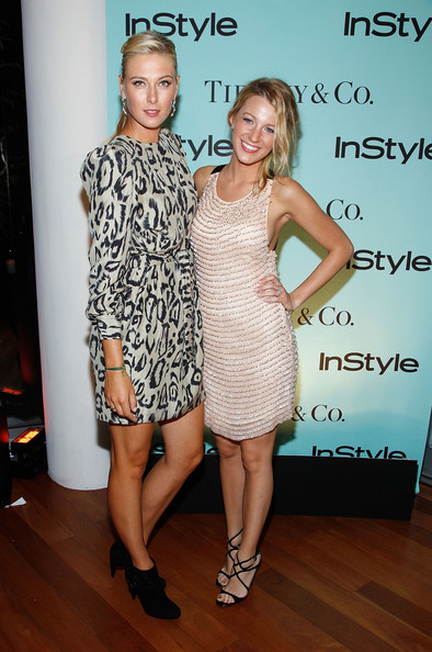 Tennis player Maria Sharapova and actress Blake Lively attend a cocktail party honoring two greats at their game hosted by InStyle and Tiffany & Co. at The Cooper Square Hotel - Penthouse on August 25, 2009 in New York City.