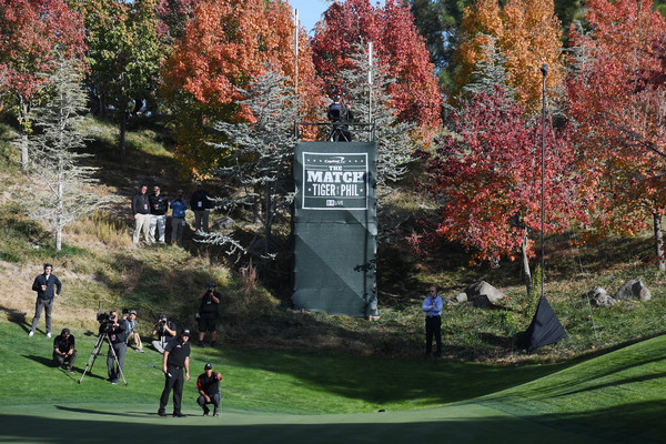 The Match: Tiger vs Phil [tree,leaf,autumn,woody plant,plant,sport venue,architecture,landscape,recreation,park,phil mickelson,tiger woods,green,putts,las vegas,nevada,shadow creek golf course,match: tiger vs phil]