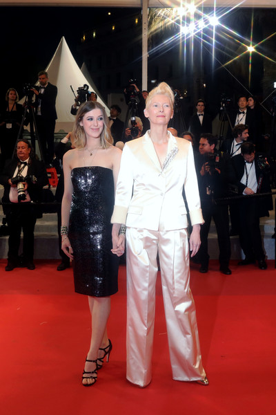 'Parasite' Red Carpet - The 72nd Annual Cannes Film Festival [red carpet,carpet,flooring,premiere,fashion,event,dress,haute couture,honor swinton byrne,tilda swinton,parasite red carpet,cannes,france,the 72nd annual cannes film festival,screening]