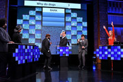 """(L-R) Questlove of The Roots, Singer/songwriter Tim McGraw, Black Thought of The Roots, Comedian Steve Higgins, Jimmy Fallon, and Faith Hill play a trivia game on """"The Tonight Show Starring Jimmy Fallon"""" at Rockefeller Center on November 16, 2017 in New York City."""