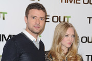 Justin Timberlake and Amanda Seyfried (R) attend the 'Time Out' Photocall at Hotel Bristol on November 4, 2011 in Paris, France.