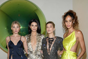 (L-R) Elsa Hosk, Kendall Jenner, Hailey Bieber, and Joan Smalls attend the Times Square Edition Premiere on March 12, 2019 in New York City.