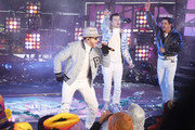 Donny Wahlberg,  Jordan Knight and Danny Wood of the New Kids on the Block  as they perform during  the Times Square New Year's Eve 2019 Celebration on December 31, 2018 in New York City.