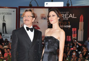 """Actor Gary Oldman and Donya Fiorentino attend the """"Tinker, Tailor, Soldier, Spy"""" premiere at the Palazzo del Cinema during the 68th Venice Film Festival on September 5, 2011 in Venice, Italy."""