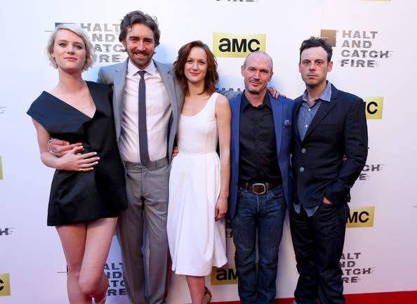 'Halt and Catch Fire' Premieres in Hollywood [halt and catch fire,series,series,premiere,fashion,event,carpet,white-collar worker,red carpet,flooring,dress,award,fashion design,actors,lee pace,toby huss,kerry bishe,los angeles,amc,red carpet]