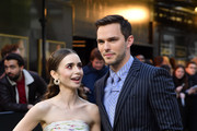 "Lily Collins and Nicholas Hoult attend the ""Tolkien"" UK premiere at The Curzon Mayfair on April 29, 2019 in London, England."