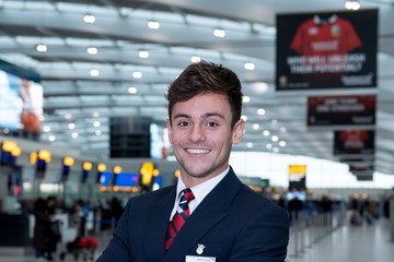 Tom Daley David Walliams, Emma Bunton And Tom Daley Take Part In British Airways, Red Nose Day Campaign Launching March 15th 2017
