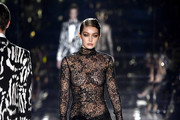 Image contains nudity.) Gigi Hadid walks the runway at the Tom Ford AW20 Show at Milk Studios on February 07, 2020 in Hollywood, California.