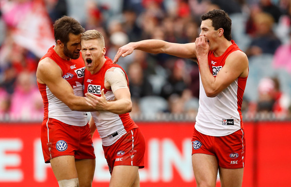 AFL Rd 21 - Melbourne vs. Sydney [sports,team sport,player,ball game,tournament,team,sports equipment,athlete,australian rules football,championship,dan hannebery,goal,left,sydney,rd 21 - melbourne,melbourne cricket ground,sydney swans,afl,swans,round]