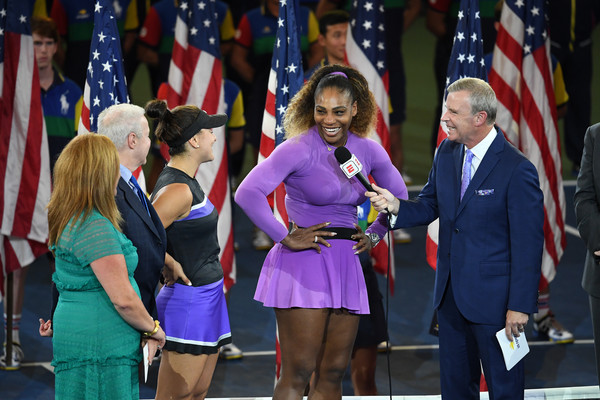 2019 US Open - Day 13 [womens singles,uniform,event,fashion,fun,competition event,championship,ceremony,electric blue,competition,team,tom rinaldi,serena williams,bianca andreescu,united states,canada,borough,espn,us open,match]