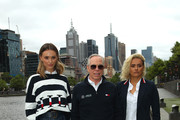 Designer Tommy Hilfiger (C) poses with Brooke Hogan (L) and Moana Hope during a press call on November 15, 2019 in Melbourne, Australia.