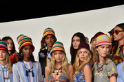 Models including Avery Blanchard, Julia Jamin, Lineisy Montero, Angel Rutledge (rear), Maartje Verhoef, Bella Hadid (rear),  Julie Hoomans, Harleth Kuusik, Leomie Anderson,  Vanessa Moody pose backstage at Tommy Hilfiger Women's Spring 2016 during New York Fashion Week: The Shows  at Pier 36 on September 14, 2015 in New York City.