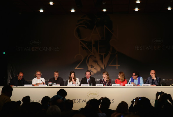"""The Homesman"" Press Conference - The 67th Annual Cannes Film Festival [event,convention,projection screen,design,stage,technology,academic conference,news conference,performance,auditorium,the homesman press conference,cannes film festival,press conference,peter brant,brian kennedy,producers,actors,hilary swank,tommy lee jones,jean-pierre lavoignat]"
