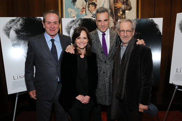 Tommy Lee Jones (EXCLUSIVE COVERAGE) (L-R) Actors Tommy Lee Jones, Sally Field, Daniel Day-Lewis and director Steven Spielberg attend the special screening of Steven Spielberg's Lincoln at the Ziegfeld Theatre on November 14, 2012 in New York City.